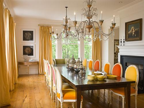 formal dining room flare interior design yellow and orange