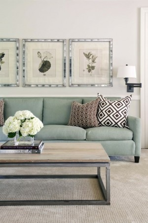 green transitional interior design