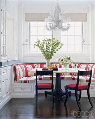 striped upholstery kitchen breakfast nook