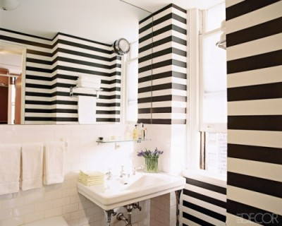 black and white striped wall paper