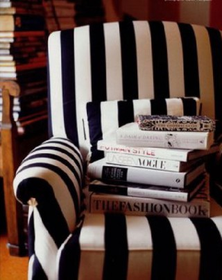 glamorous striped chair and fashion books