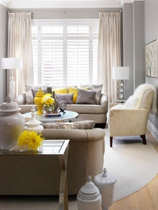 grey curtains yellow throw pillows accent interior decorating