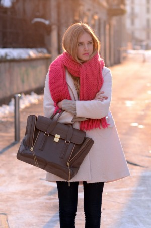 pale pink blush coat winter fashion 2012