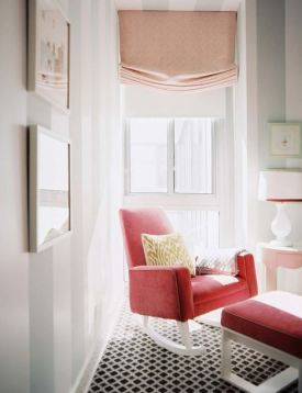 pastel pink roman blind window treatment red rocking chair