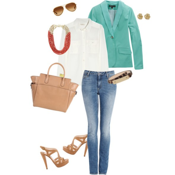 mint green blazer coral accessories nude accessories